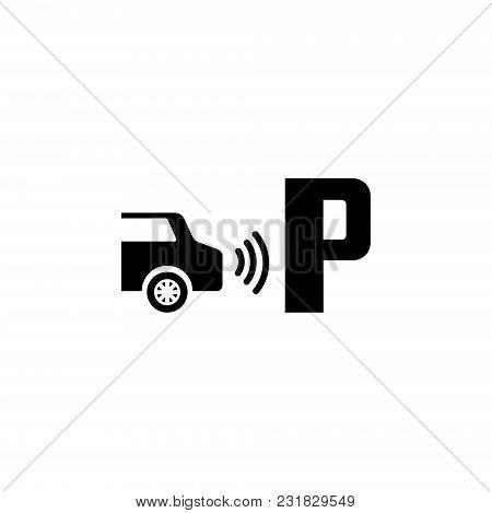 Parktronic Sensor. Parking Assist. Flat Vector Icon. Simple Black Symbol On White Background
