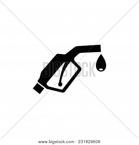 Gasoline Pump Nozzle. Fuel Pump. Flat Vector Icon. Simple Black Symbol On White Background