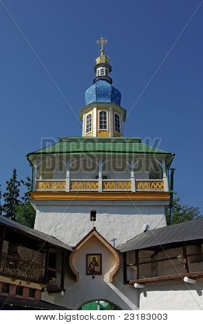 Tower over an entrance in orthodox monastery poster