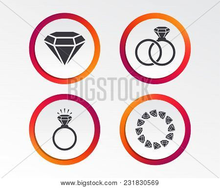 Rings Icons. Jewelry With Shine Diamond Signs. Wedding Or Engagement Symbols. Infographic Design But