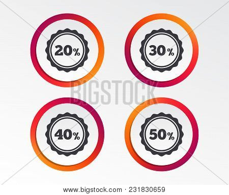 Sale Discount Icons. Special Offer Stamp Price Signs. 20, 30, 40 And 50 Percent Off Reduction Symbol