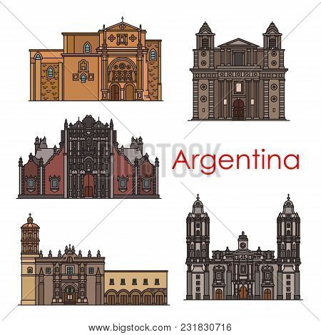 Argentina Travel Building Landmarks And Sightseeing Architecture Line Icons. Vector Set Of Argenitin