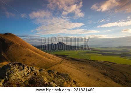 View From The Top Of Rana Hill At Sunrise. Autumn Scenery In Central Bohemian Highlands, Czech Repub