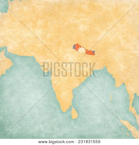 Nepal (nepali Flag) On The Map Of South Asia In Soft Grunge And Vintage Style, Like Old Paper With W