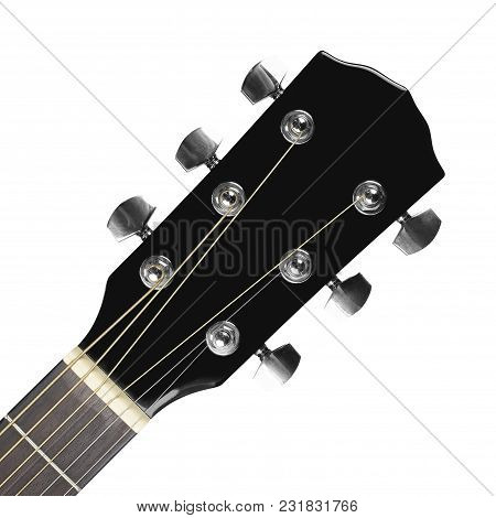 Musical Instrument - Headstock Peghead Black Acoustic Guitar On A White Background.