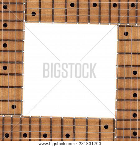 Musical Instrument - Electric Guitar Neck Frame White Background.