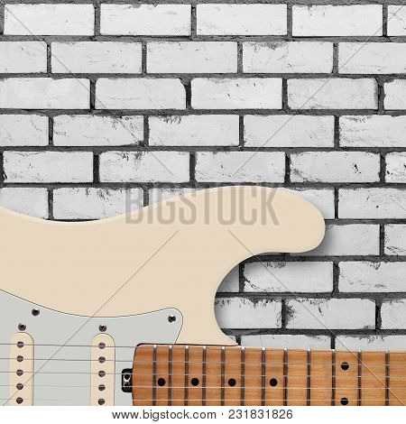Musical Instrument - Silhouette Electric Guitar On A White Brick Wall Background.