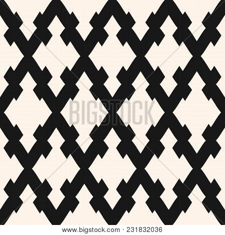 Vector Seamless Pattern With Rhombuses, Diagonal Lattice, Mesh. Simple Monochrome Abstract Geometric
