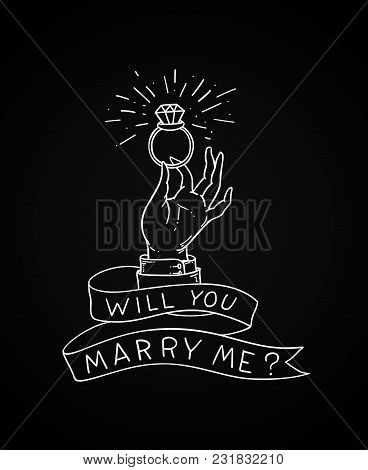 Man's Hand With A Wedding Ring With A Diamond. N Offer Of Marriage Illustration In Old School Tattoo