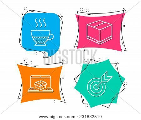 Set Of Online Delivery, Doppio And Delivery Box Icons. Target Sign. Parcel Tracking Website, Coffee