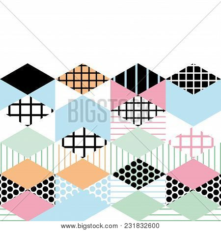 Card Banner Template Geometric Elements Memphis Postmodern Retro Fashion Style 80-90s. Asymmetrical