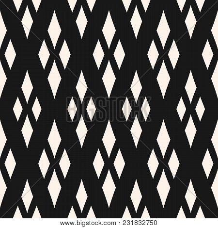 Vector Geometric Texture With Rhombuses. Diamonds Seamless Pattern. Abstract Monochrome Ornamental B