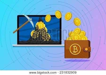 Concept Of Cryptocurrency. Mining To Find Bitcoins And Earning Cryptocurrency. Bitcoin On The Laptop
