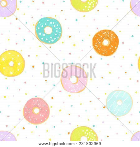Delicate Seamless Pattern With Different Glazed Donuts. Vector Illustration On White Background With