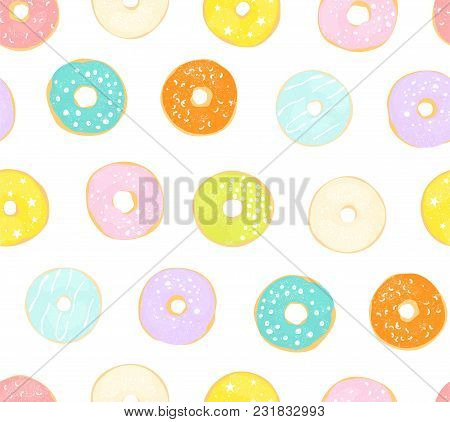 Delicate Seamless Pattern With Different Glazed Donuts. Vector Illustration On White Background.