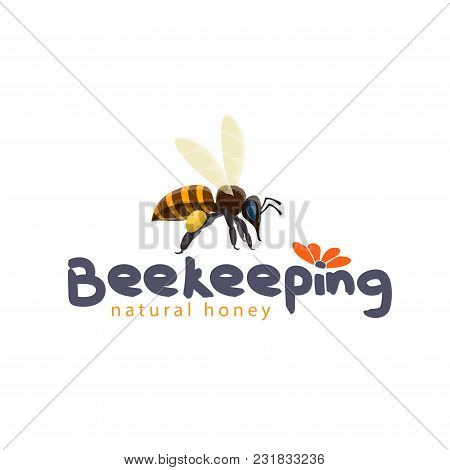 Honey Beekeeping Product Icon Design For Honey Label Of Bee And Flower. Vector Flat Honey Bee Pollin