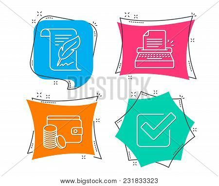 Set Of Payment Method, Feather And Typewriter Icons. Checkbox Sign. Wallet With Coins, Copyright Pag