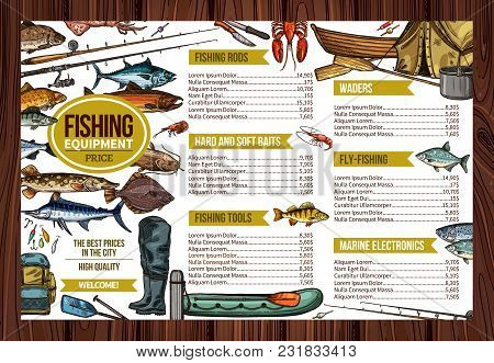 Fishing Store Sketch Price List Design Of Fisherman Equipment Tools For Fishing. Vector Fisher Rod A