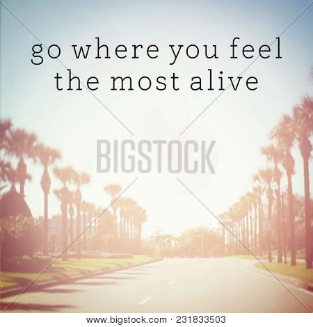 Quote -  Go where you feel the most alive