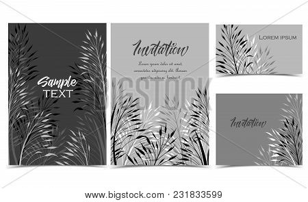 Vector Illustration Of Grass, Meadow Element. Set Of Greeting Cards