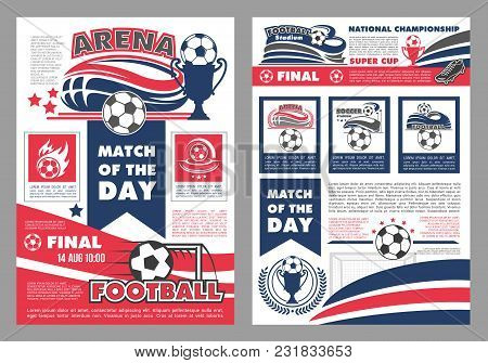 Soccer Championship Match Or Football Cup Game Posters Design Templates. Vector Soccer Ball On Wings