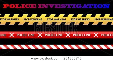Set Of Yellow Plastic Caution Tape Or Warning Tape. Stripe Tape With Police Line Vector Illustration