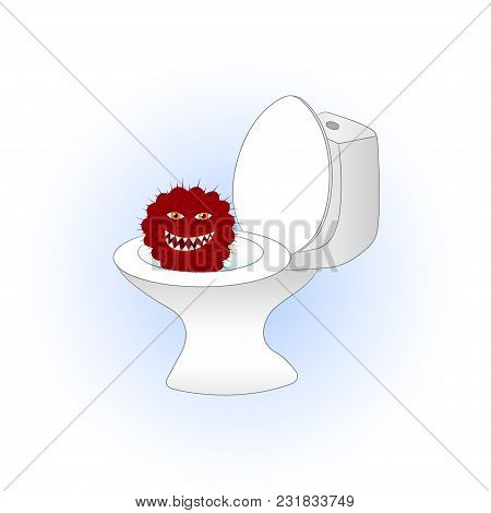 Cartoon Red Cactus Sitting In The Toilet. Vector Illustration