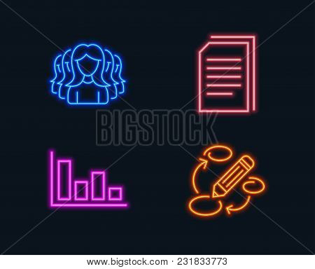 Neon Lights. Set Of Histogram, Copy Files And Women Group Icons. Keywords Sign. Economic Trend, Copy