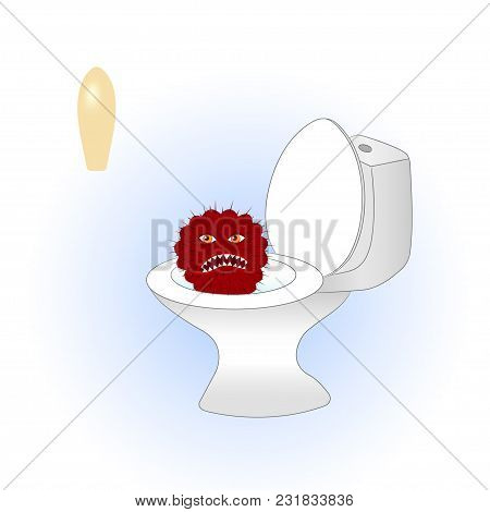 Cartoon Red Cactus Sitting In The Toilet Is Afraid Of Treatment. Vector Illustration