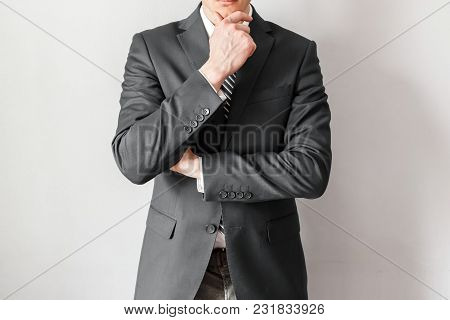 Businessman Thinking About Business Strategy. Working And Ideas Concept