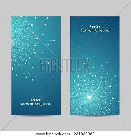 Set Of Vertical Banners. Geometric Pattern With Connected Lines And Dots. Vector Illustration On Blu