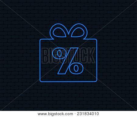Neon Light. Gift Box Sign Discount Icon. Present Symbol. Glowing Graphic Design. Brick Wall. Vector