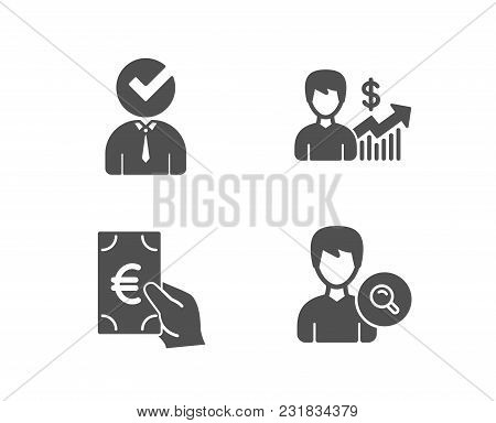 Set Of Finance, Business Growth And Vacancy Icons. Search People Sign. Eur Cash, Earnings Results, B