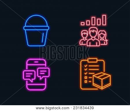 Neon Lights. Set Of Bucket, Teamwork Results And Phone Messages Icons. Parcel Checklist Sign. Washin