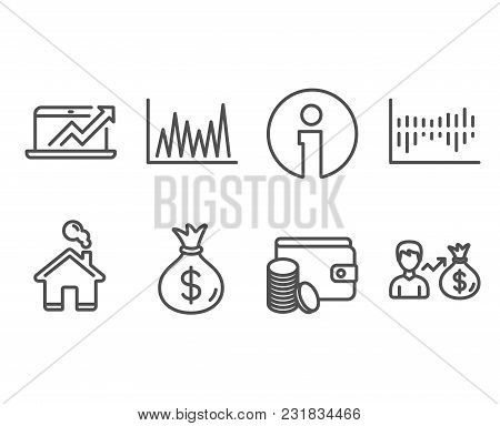 Set Of Line Graph, Column Diagram And Sales Diagram Icons. Payment Method, Money Bag And Sallary Sig