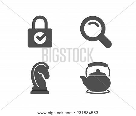 Set Of Search, Password Encryption And Marketing Strategy Icons. Teapot Sign. Magnifying Glass, Prot