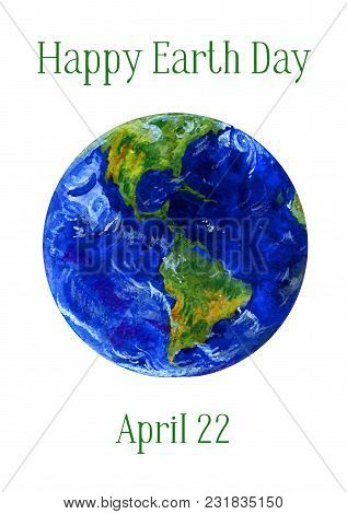 Earth Day Horizontal Banner. Earth Planet Views Of Americas. Hand Drawn Isolated On White Background