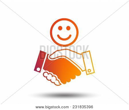 Smile Handshake Sign Icon. Successful Business With Happy Face Symbol. Blurred Gradient Design Eleme