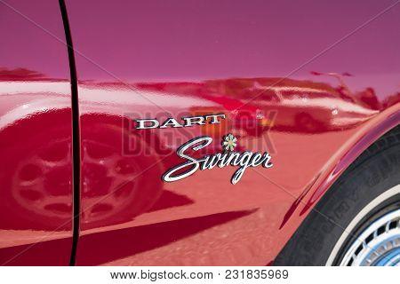 Beit Nir, Israel - March 17, 2018: Logo Of Muscle Car Dodge Dart Swinger Vintage