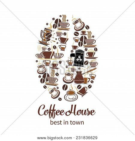 Coffeehouse Poster Of Coffee Cups And Coffee Makers Or Tea Mugs In Shape Of Coffee Bean. Vector Desi