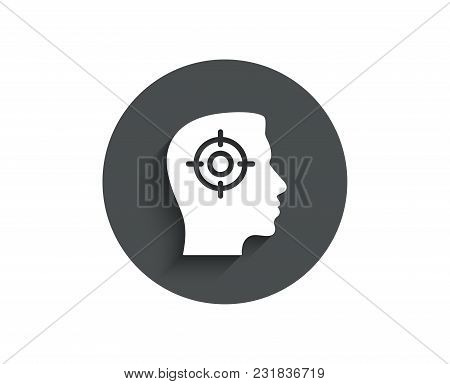 Head Hunting Simple Icon. Business Target Or Employment Sign. Circle Flat Button With Shadow. Vector