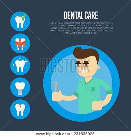 Smiling Male Dentist In Green Medical Uniform Holding Dental Pliers On Blue Background. Dental Care