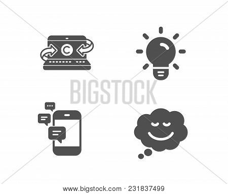 Set Of Communication, Light Bulb And Copywriting Notebook Icons. Speech Bubble Sign. Smartphone Mess