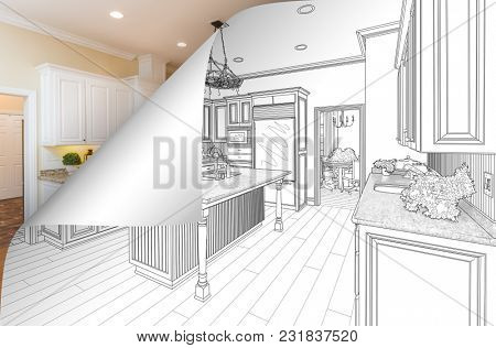 Kitchen Drawing Page Corner Flipping with Photo Behind.