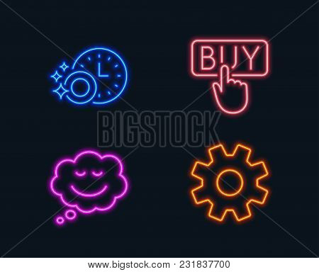 Neon Lights. Set Of Buying, Dishwasher Timer And Speech Bubble Icons. Service Sign. E-commerce Shopp