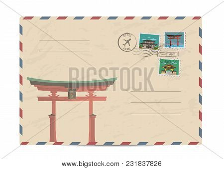 Japan Vintage Postal Envelope With Postage Stamps And Postmarks On White Background, Isolated Vector