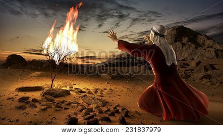 Moses And The Burning Bush. Story Of Book Of Exodus In Bible. The Shrub Was On Fire, But Was Not Con