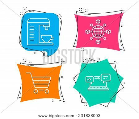 Set Of Coffee Machine, Logistics Network And Market Sale Icons. Internet Chat Sign. Cappuccino Machi