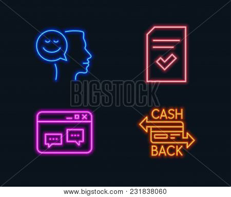 Neon Lights. Set Of Checked File, Browser Window And Good Mood Icons. Cashback Card Sign. Correct Do