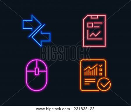 Neon Lights. Set Of Synchronize, Report Document And Computer Mouse Icons. Checked Calculation Sign.